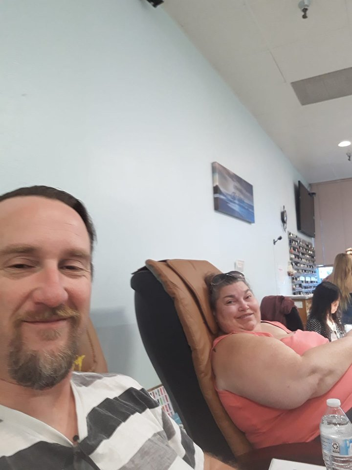 Joh & Kimberlee Plezia getting a pedicure at JC Nails in Colorado Springs, CO