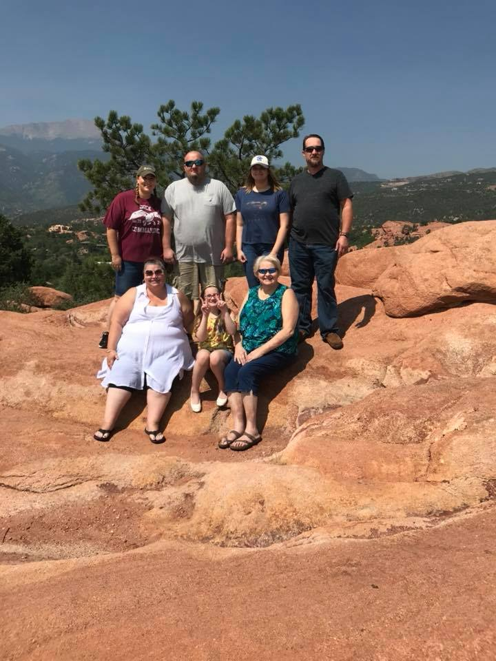 Back Row (left to right):  Megan Nichols, Shawn Nichols, Hunter Nichols, John Plezia Front Row (left to right);  Kimberlee Plezia, Rylyn Nichols, Vicky Chiles photo taken at Garden of the Gods in Colorado Springs, CO