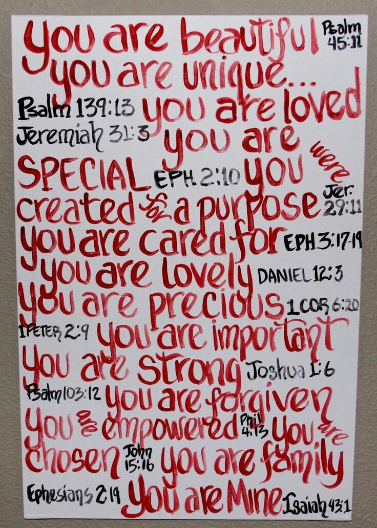 poster board covered in a variety of biblical affirmations