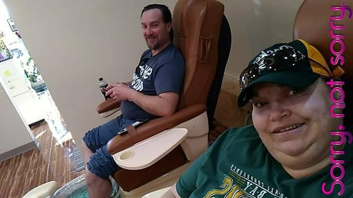 John and Kimberlee Plezia getting pedicures at Lisa Nails in Colorado Springs, CO