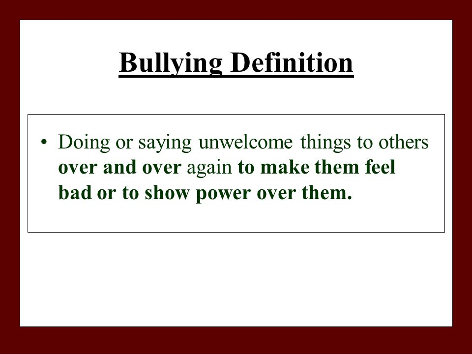 definition of the word bullying
